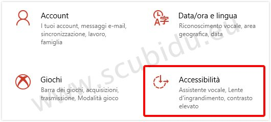 accessibilità windows 10
