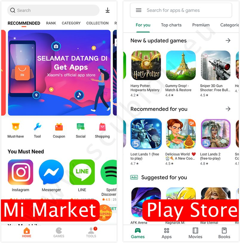 differenza mi maket google play store