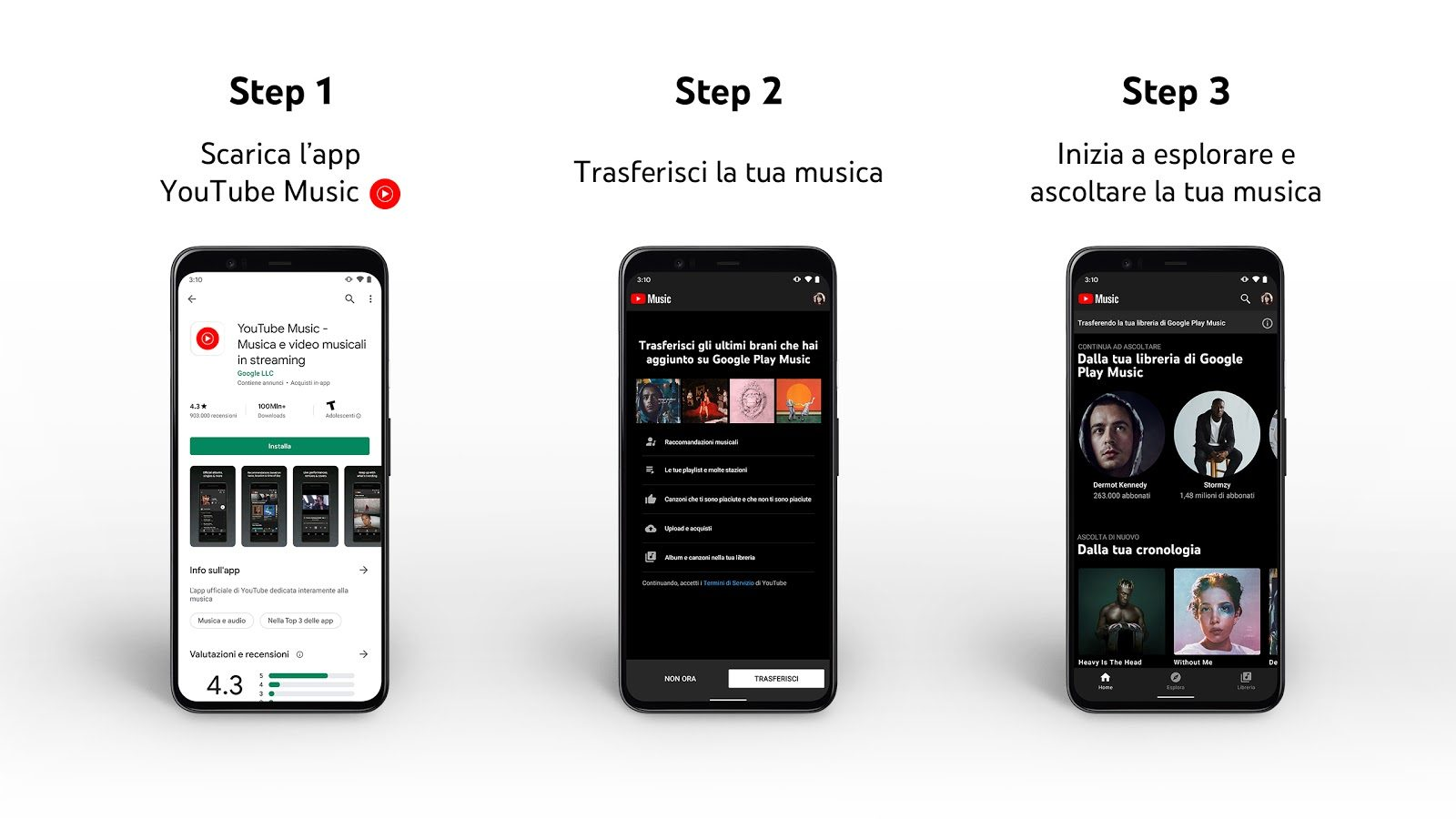 trasferire musica da google play music a youtube music