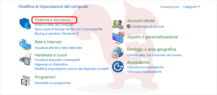 windows 10 accedere a sistema e sicurezza da pannello di controllo