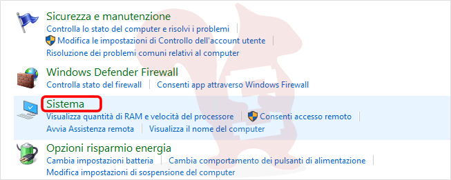 windows 10 pannello di controllo - sistema