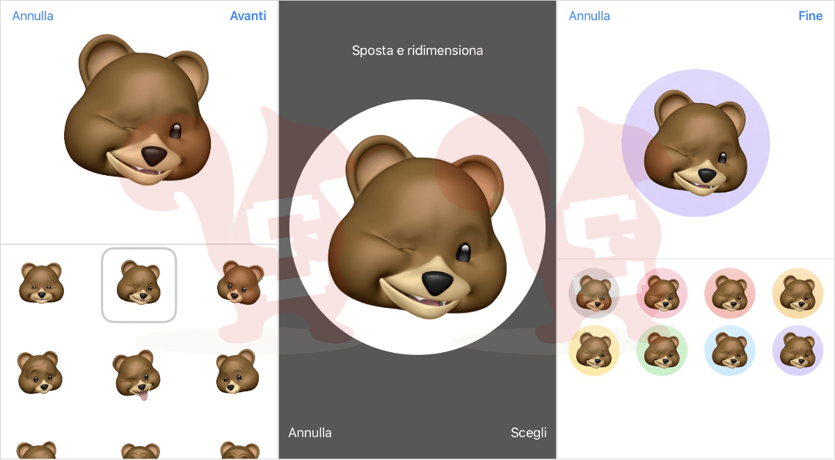 apple impostare memoji animale contatto rubrica