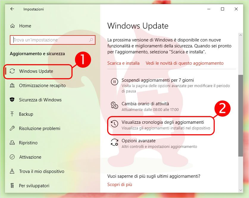 cronologia aggiornamenti effettuati su Windows 10